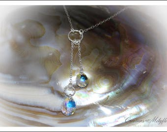 Silver necklace with clear Swarovski crystals pendant