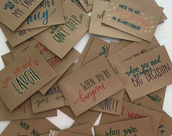"Set of 50 - Hand Lettered ""Open When"" Envelopes - Going Away Present - Hand Lettered Envelopes - Open When Present - Heartwarming Present"