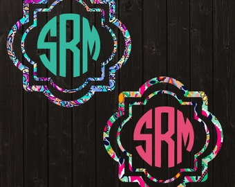 Custom Lilly Pulitzer Inspired Monogram Decal / Car Decal / Vinyl Decal / Yeti Decal / Laptop Decal / Bridesmaid Gift / Womens
