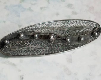 Vintage Large Filigree Silver Pin or Brooch