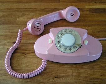 Pink PRINCESS Phone Working Retro Rotary Dial Telephone Desk Phone