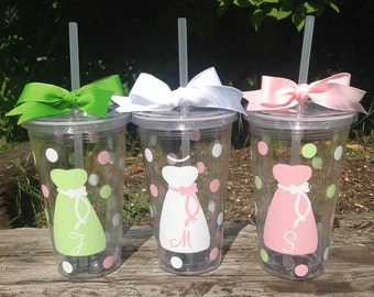 8 Personalized 16 oz. Clear BRIDE & BRIDESMAIDS TUMBLERS with Dresses Polka Dots Bridal Bachelorette Wedding Party