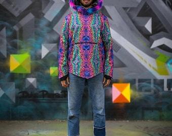 SALE Psychedelic Printed Hoodie with Fur Hood