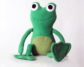 Frog handmade stuffed animal toy green