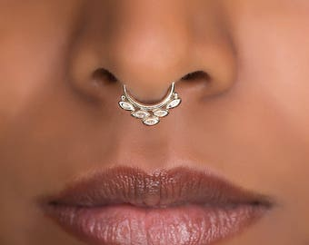 Tribal Septum Ring for pierced nose. septum piercing. brass septum ring. tribal septum ring. brass septum.septum jewelry.tragus earring.