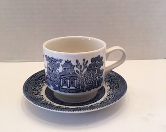 Vintage Blue Willow ~ Teacup and Saucer ~ Churchill Staffordshire England ~Cup and Saucer ~ Vintage