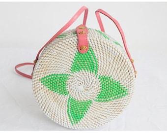 Round straw rattan bag. Woven Straw Bag.