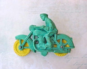 1953 Auburn Rubber Small Motor Cop Motorcycle Toy