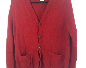 Vintage Mens Wool Cardigan Golf Sweater Marshall Field and Company England Large