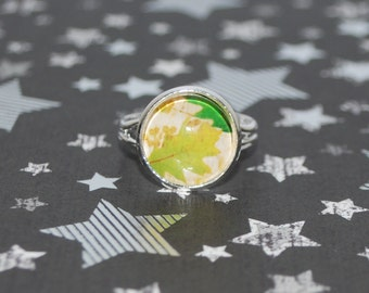 Adjustable ring green leaf of autumn