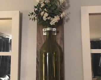 Wine Bottle Wall Vase – Single Vase: BOTTLE INCLUDED, Rustic Home Decor, Modern Industrial Wall Sconce