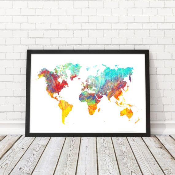 World map watercolor world map art map poster modern wall world map watercolor world map art map poster modern wall art world map wall art printable art wall decor map travel map map decor gumiabroncs Gallery