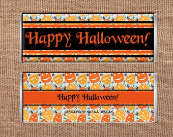 Instant Digital Download Happy Halloween Candy Bar Wrappers for 1.5oz Hershey Bar- Party Favor-Halloween Candy-Pumpkin Halloween Treat