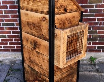 Rustic Industrial Reclaimed  Barn Board Hostess Host Stand in Honey Tone