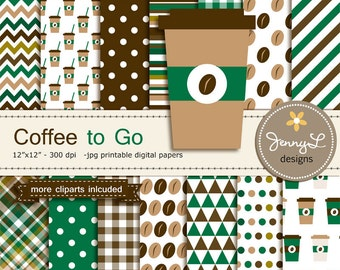 Coffee Digital papers and Coffee bean Clipart, Coffee Cup on the Go for Birthday, Scrapbooking Paper Party Theme,