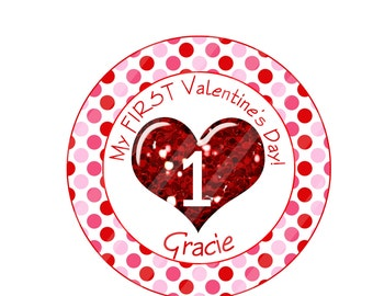 "First Valentine's Day ""Glitter"" Personalized Digital Image for iron-ons, heat transfers, T-Shirts, Onesies, Bibs, Aprons, DIY YOU PRINT"
