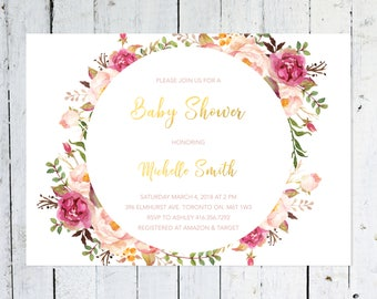 Baby Shower Invitation Girl, Boho Baby Shower Invitation, Circle, Gold, Floral, Watercolor, Flowers, Modern, Printable, Printed