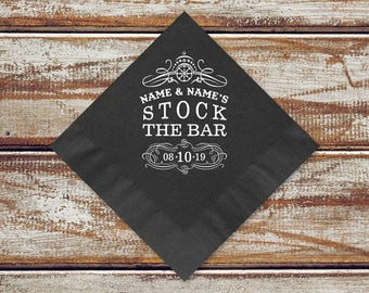 Stock The Bar Party Cocktail Napkins | Personalized Stock The Bar Napkins, Add Name And Date