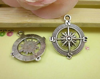 10pcs Antiqued Silver Compass Charms Pendant 25x30mm