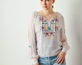 Vintage Blush Embroidered Blouse