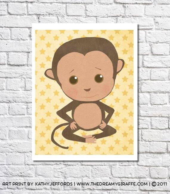 Monkey Nursery Art Cute Monkey Nursery Decor Baby Boy Nursery