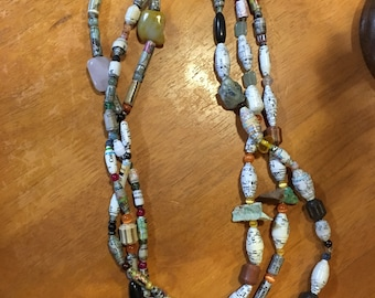 Paper and semi-precious beads