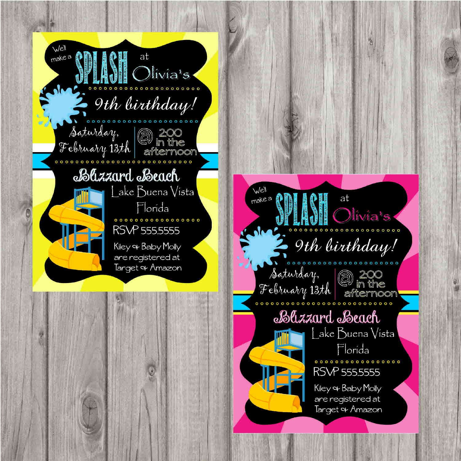 Digital water park chalkboard style birthday party invitation zoom monicamarmolfo Image collections