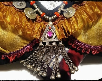 tribal bellydance bra with pakistan pendant. YOUR SIZE