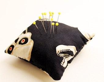 Eco Friendly Handmade Pincushion - Freaky Skulls - Kezbirdie
