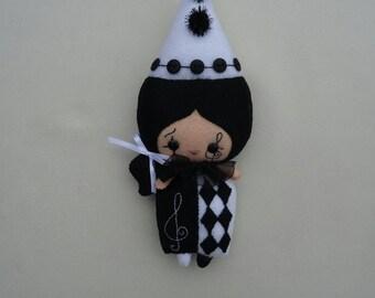Pierrot doll in soft felt by a pattern of boredom Land