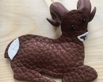 Leather Big Horn Sheep Ornament
