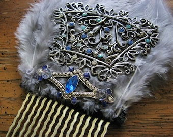 Art nouveau hair comb | something blue | rhinestone | flapper headpiece