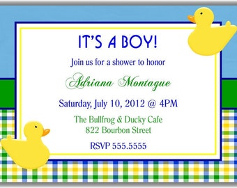 Blue Plaid Boy Personalized Printable Digital DIY Invite or Card ( Any Wording or Text)