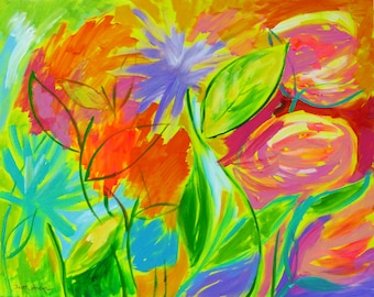 Disco Energy, 24x30, modern art, flower painting, contemporary art, colorful painting, bright painting, large canvas art, large painting