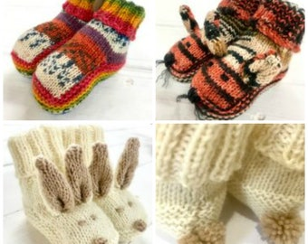 Baby bootie knittingpattern for 4ply sockyarn for bunny tiger or plain booties ideal to knit with our Opal sockyarns