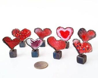 Welded Steel Heart Sculpture, Enameled Love Token, Torch Cut, Torch Fired, Enamel