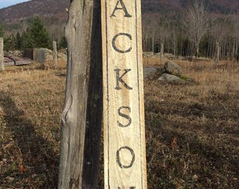 Jackson hemlock wood sign