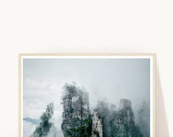 Mountain Art Print, Lotus Mountain, Abstract Mountain Photo, Mountain Photography, Printable Wall Art,   Instant Download, Modern Wall Art