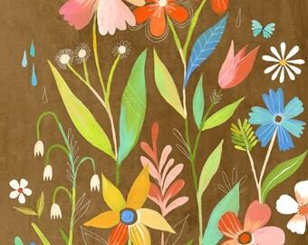 June Garden art print | Floral Wall Art | Katie Daisy | 8x10 11x14