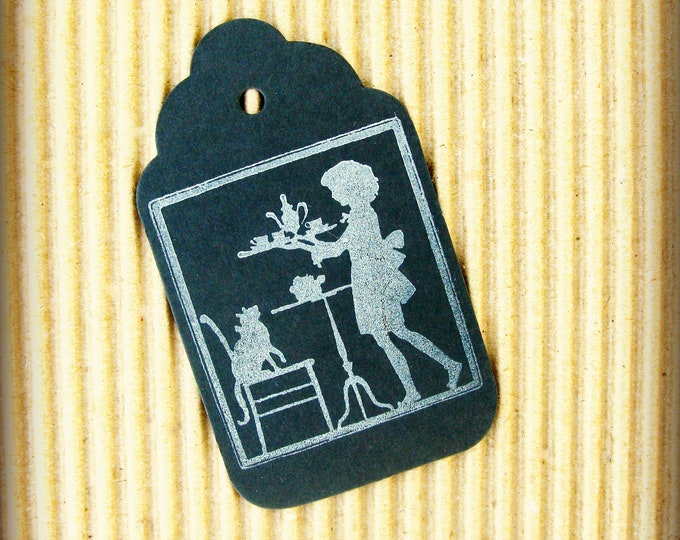 Chalkboard Gift Tags,Tea Party, Vintage Design, Little Girl and Kitty,Afternoon Tea, Silhouette, Black Chalk Board,Hand Stamped, set of 6