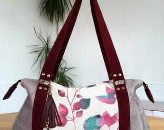Woman handbag, woman tote bag, handles handbag, bohemian handbag, style handbag, fabric bag, printed fabric bag, jute woman handbag, vegan bag,