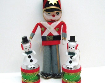 3 Paper Christmas Ornaments (1 soldier & 2 Snowmen on drums) - Made in Japan - 1950s or 1960s