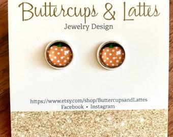 Polka Dot Pumpkin Stud Earrings 10mm