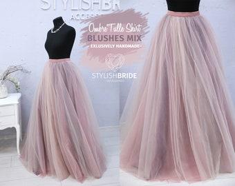 Blush & Blackberry Ball Ombre Super Lush Wedding Tulle Skirt,  Engagement Blush Ombre Skirt, Ball Sun flare Skirt