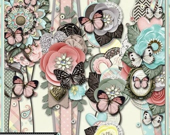 On Sale 50% Mom 12 inch Page Borders Embellishments Kit for Digital Scrapbooking, Mother's Day