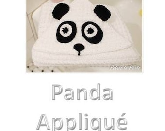 Crochet Pattern - Panda Face and Paws Applique (for Hooded Baby Towel and So Much More) - Immediate PDF Download