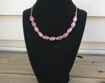 Necklace Pink Stone Collar Length Necklace