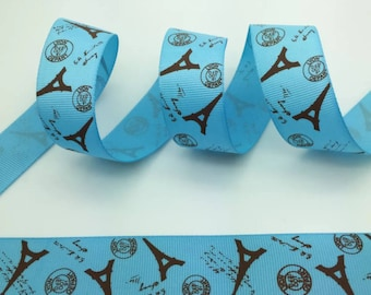 """1"""" Turquoise and Tan Eiffel Tower Ribbon by the Yard  R37"""