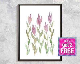 Tulips watercolor Print, Floral Printable Art, Flower digital art, Modern Wall Art, Wall Decor, pink tulip print, watercolor print, flowers