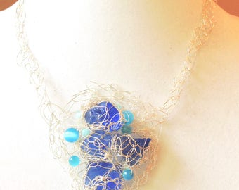 Blue sea glass crochet necklace, Bib necklace, silver wire crochet necklace, sea glass wire crochet, boho sea glass necklace